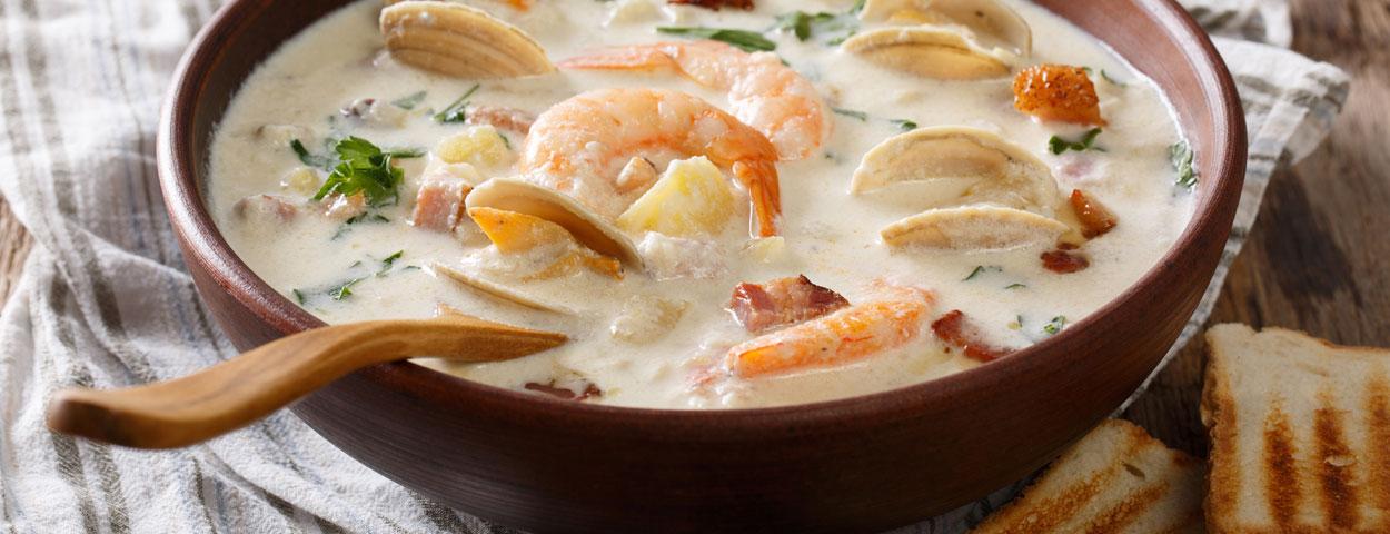 奶油海鲜蛤蜊浓汤